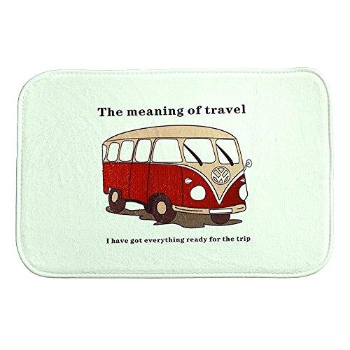 iHome Fußmatte, Korallen Samt, 40 x 60 cm, Vintage Cartoon Bus Datenbus The Meaning of Travel (Weiß)