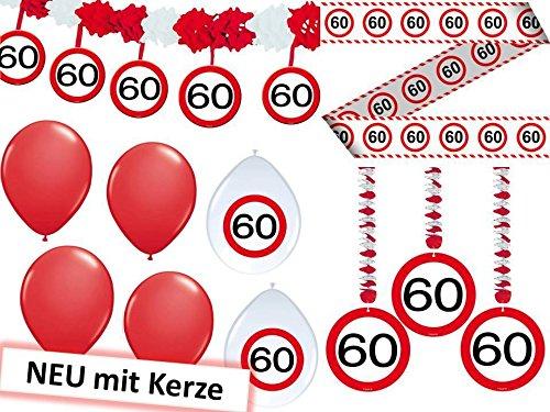 23-tlg. Partyset 60. Geburtstag Dekoset Dekobox - Verkehrschild - Girlanden, Luftballons