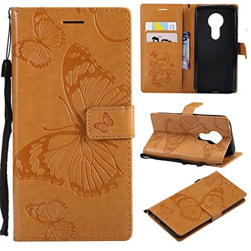 Hozor Motorola Moto E5 Handyhülle, Retro Großer Schmetterling Muster PU Kunstleder Ledercase Brieftasche Kartenfächer Schutzhülle mit Standfunktion Magnetverschluss Flip Cover Tasche, Goldgelb