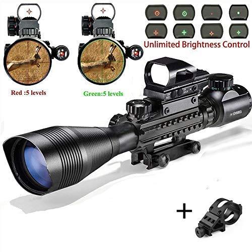 StyleA Lunette de Visee Replique Airsoft Carabine C4-16x50EG avec Réticule Rétroéclairable (Rouge/Vert) Reflex holographique Red Dot pour Montage sur Rail Weaver Picatinny 22 mm (Garantie 12 Mois)