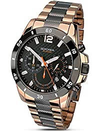 amazon co uk sekonda watches sekonda men s quartz watch grey dial chronograph display and two tone stainless steel rose gold plated bracelet 1006 27
