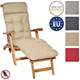 Beautissu Cuscino per sedie a sdraio da giardino Flair DC 200x50x8cm - extra comfort per sedia a dondolo e poltrone da giardino - beige