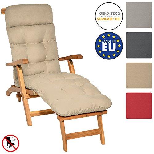 Beautissu Auflage für Deckchair Flair DC 200x50x8 cm Liege-Stuhl Polster-Auflage mit Schaumflockenfüllung Natur