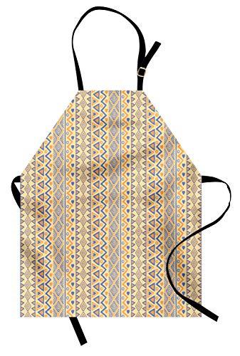 ABAKUHAUS Gestreift Kochschürze, Prähistorische Streifen Indianer Form Indie Ritual Jagd Aborigines Wild Art, Farbfest Höhenverstellbar Waschbar Klarer Digitaldruck, Gelb Blau