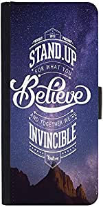 Snoogg Stand up and believe 2740 Designer Protective Flip Case Cover For One Plus One