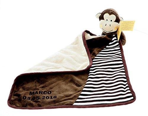 Preisvergleich Produktbild Schnuffeltuch, Schmusetuch, Spucktuch Affe mit Ihrem Wunschnamen und Geburtstag graviert Geschenk für Baby, Set:Schnuffeltuch ohne Rassel