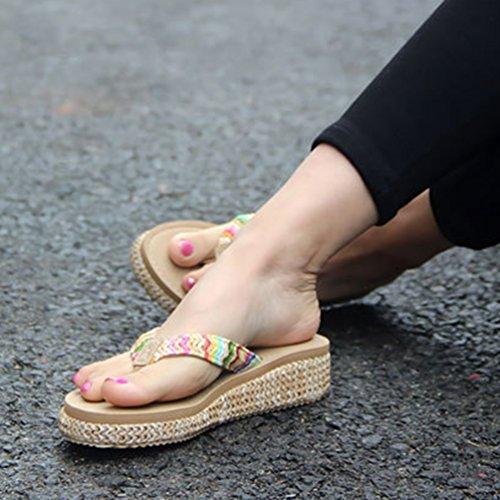CHENGYANG Donna Flip Flops Tacco Medio Infradito Sandali Suola Spessa Spiaggia di Sabbia Scarpe Zeppe Beige