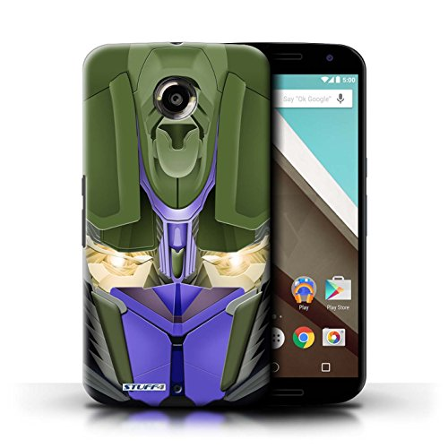 Kobalt® Imprimé Etui / Coque pour Motorola Nexus 6 / Opta-Bot Vert conception / Série Robots Opta-Bot Bleu