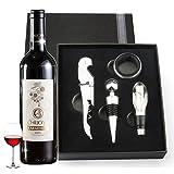 Juego de accesorios para vino, Kit de accesorios para vino con abridor de botella, vertedor de vino, anillo antigoteo y tapón, ideal como regalo