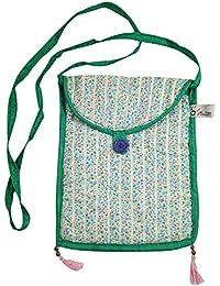 Handmade Long Strap Shoulder Bag Crossbody Women Sling Bag, Sequin Craft Cotton Stuff Bag, Stylish Hand Pattern...