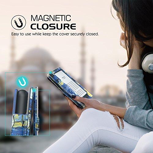 MoKo Étui de protection pour Kindle E-reader (8ème génération - modèle 2016) - étui de Retournement Vertical avec Auto Réveil / Veille pour Amazon Toute nouvelle Liseuse Kindle, Noir Z-Nuit étoilée