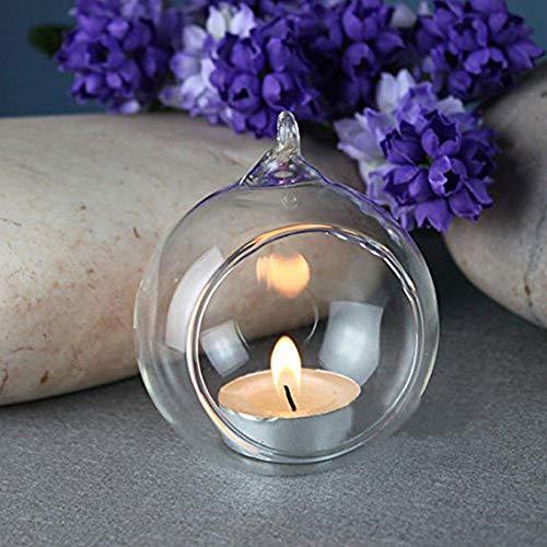 Aolvo Glas-Kugel-Kerzenhalter zum Aufhängen, für Pflanzen, Glas, Terrarien, Romantische Kerzenständer, Dekoration für Weihnachten, Hochzeiten, Partys (1 Stück, 60 mm), 60mm