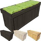 Power-Preise24 proheim Auflagen-Box XL 132 x 64 x 60 cm mit Sitz aus 100% FSC Holz Stabile Universal-Box Kissen-Box Sitzbank, Farbe:Anthrazit