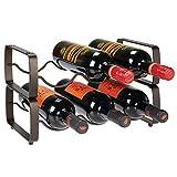 mDesign Juego de 2 botelleros apilables - Estante para Vino de Metal con Capacidad para 3 Botellas - Mueble vinoteca manejable para Botellas de Vino u Otras Bebidas