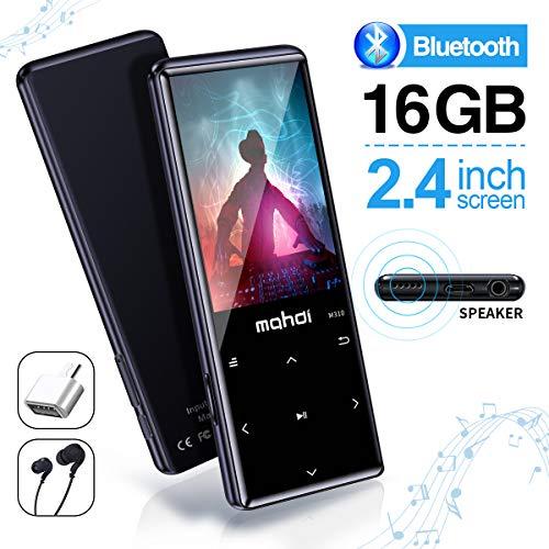 MYMAHDI MP3-Player mit Bluetooth 4.2, Touch-Tasten mit 2,4-Zoll-Bildschirm, 16 GB tragbarer, verlustfreier digitaler Audio-Player mit UKW-Radio, Sprachaufzeichnung, Unterstützung bis zu 128 GB Touch-screen-tasten
