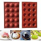 HPiano 2 Stck Kleine Halbkugel Silikonform mit 15 Vertiefungen, Backform Backwerkzeug für Ihre Schokoladendesserts, Eisbomben, Mini Teacake, Fondant, Bonbons, Tablett, Kekse, Jello