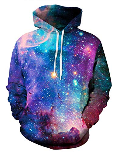 ALISISTER Unisex 3D Galaxy Hoodie Bunt Bedruckte Kapuze Pullover Sweatshirt Langarm Kordelzug Kapuzenpullover L/XL