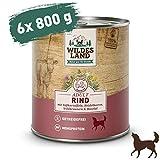 Wildes Land   Nassfutter für Hunde   Nr. 5 Rind   6 x 800 g   mit Süßkartoffeln, Heidelbeeren, Wildkräutern & Distelöl   Glutenfrei   Extra viel Fleisch   Beste Akzeptanz und Verträglichkeit