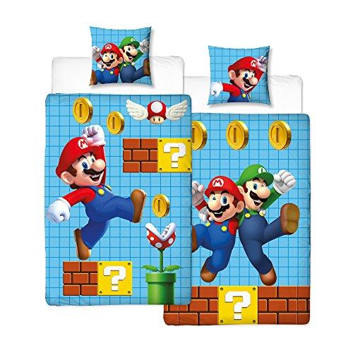 NINTENDO Super Mario Kinder Bettwäsche Wende Motiv - Kissenbezug 80x80 + Bettbezug 135x200 cm - 100 % Baumwolle - NEU