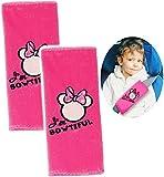 Unbekannt 2 TLG. Set _ Gurtschoner / Gurtpolster -  Disney Minnie Mouse  - Gurtschutz - für Sicherheitsgurt als Gurt Polster - für Auto / Kindersitz - Schoner Autosit..