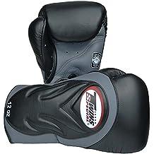 TWINS Boxhandschuhe, Premium, BGVL-6, schwarz-grau, Leder Leather, Muay Thai MMA