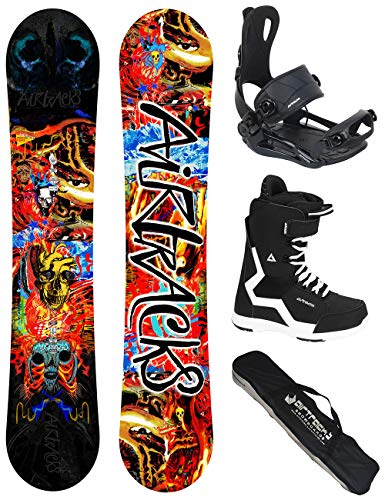 Airtracks another world carbon wide hybrid rocker - tavola da snowboard con attacchi master + stivali da snowboard + sb bag / 153 160 164 cm, boots savage black 44