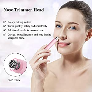 TOUCHBeauty Electric Nose Ear Trimmer, Eyebrow Trimmer, all in ONE Hair Remover for Women, Painless Razor Technology, Trim Brow Peach Fuzz Lips, Battery Powered AG-1458