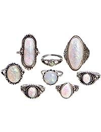 LUOEM 8 unids anillos de dedo de ópalo de fuego anillo de nudillo de la vendimia conjunto de accesorios de la joyería para la fiesta de cumpleaños del banquete de boda decoración