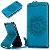 iPhone 4S Case,iPhone 4 Case,iPhone 4S / 4 Case,ikasus Embossing Lace Floral Mandala Flower Pattern Premium PU Leather Fold Wallet Pouch Case Wallet Flip Cover Bookstyle Magnetic Closure with Card Slots & Stand Function Protective Case Cover for Apple iPhone 4S / 4,Blue