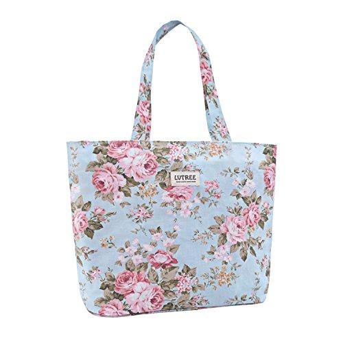a22de8d22555 Lvtree Reusable Shopping Grocery Bag with Top Zipper Closure, Durable  Foldable Handbag Waterproof Beach Travel Tote, Women and Teen Girls Storage  ...