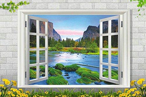 Kentop Pegatina de Pared Ventana 3D Vista Paisajes Arte Mural para Vinilo Room Decor Wallpaper