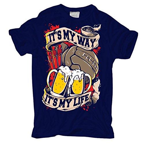 Männer und Herren T-Shirt Football MY WAY MY LIFE (mit Rückendruck) Dunkelblau