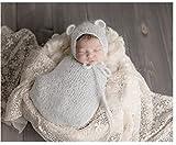 BINLUNNU moda bebé recién nacido fotografía apoyos niño Niña Gorro de Crochet disfraz trajes saco de dormir gris Talla:mediano