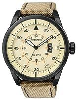Citizen 0 - Reloj de cuarzo para hombre, con correa de tela, color marrón de Citizen