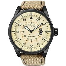 Citizen  0 - Reloj de cuarzo para hombre, con correa de tela, color marrón