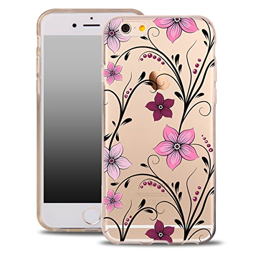 OOH!COLOR® Design Case für iPhone 4 / 4S mit Motiv MPA147 weiß Punkte modisch stilvoll Silikon Hülle elastisch Schutzhülle Transparent Case Luxus Cover Slim Etui ROZ003 Rose Blumen