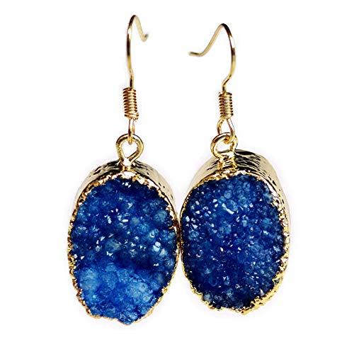 OOFAY Natürliche Kristall Ohrringe, Rosenquarz Handgefertigte Anhänger Ohrbügel für Party Hochzeit Liebe Geschenk (1 Paar),B