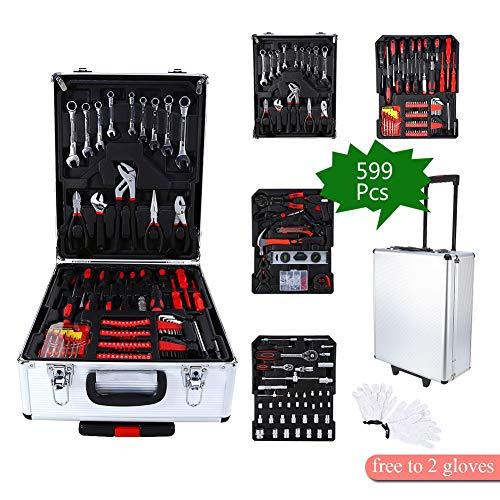599 Teile DIY Haushalt Werkzeug Set Koffer Mechaniker Kit Box Organisieren Rollen Werkzeugkoffer Trolley + Gratis Handschuhe