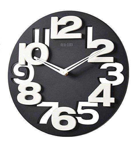 3 D Design orologio da parete moderno 8808 da cucina Baduhr office Clock  decorazione silenziosa Bianco e nero