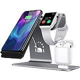 Bestand [3 in 1] Ständer aus Aluminum für Apple iwatch, Airpods Ladestation, drahtlose Qi-Schnellladestation für iPhone X/ 8 Plus /8/ bzw. Samsung S8 und andere Qi-fähigen Geräten (Grau)