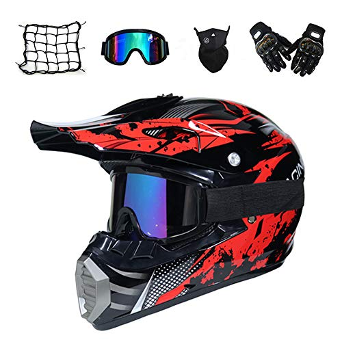 MRDEAR Casque Motocross Homme, Noir et Rouge, Adulte Casque Moto Cross Moto Set, Goggle/Gants/Masque/Filet à Elastique, Enfant Casque VTT Integral BMX Quad Enduro ATV Scooter, Certification Dot,M
