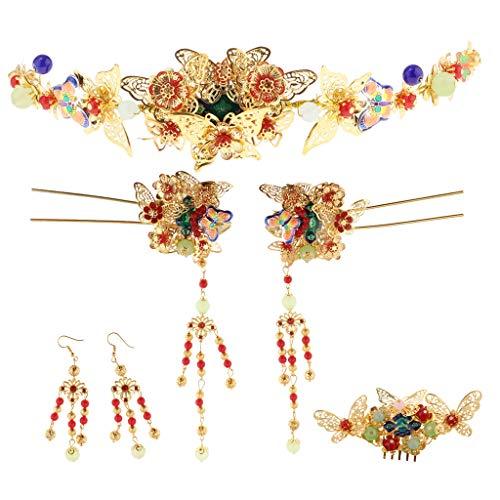 B Baosity Haarnadeln Ohrringe Schmuck-Set Hochzeit Haarschmuck Kamm Haar Stick und Tiara Kammohrringe - Haare Kämmen-stick