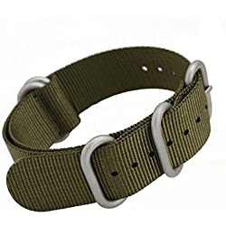 MetaStrap NFC 22mm Nylon Strap ZULU Watch Band (Army Green)