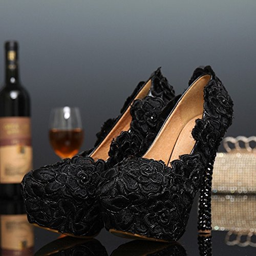 XINJING-S Schwarze Spitze Abendkleid Schuhe Damenschuhe Rose Blume Hochzeit Schuhe Schwarze Spitze hoch Schwarz 12 cm Heels