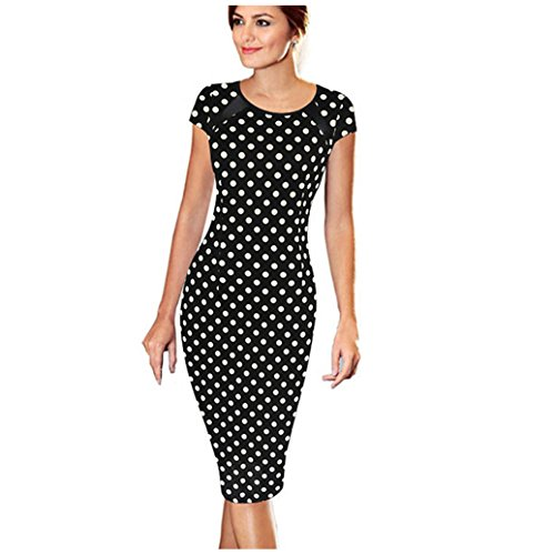 Elecenty Damen Knielang Kleider Bandage Bodycon Minikleid Frauen Kurzarm Mode Kleid Kleidung...