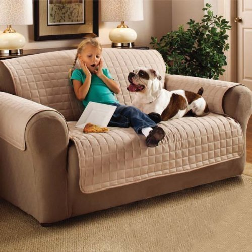 Ashley Mills Ultra Soft Quilted Square Sofa Furniture Protector Slip Cover Water Resistant, snag Resistant (Beige, Three Seater)