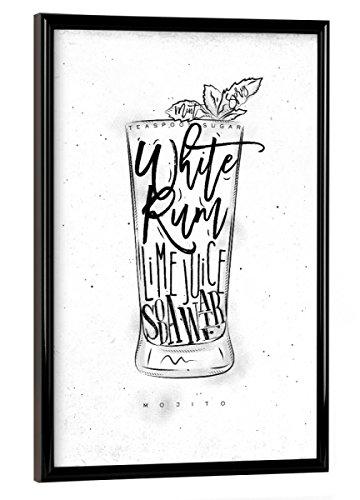 artboxONE Poster mit Rahmen 30x20 cm Mojito Cocktail White von Künstler Anna Kozlenko - Poster mit Kunststoffrahmen