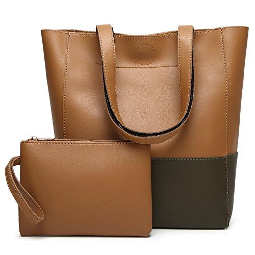 DCCN Damen Handtaschen Shopper PU Leder Messenger Bags Einkaufstasche mit ein klein Beutel (Geldbörsen Tote)