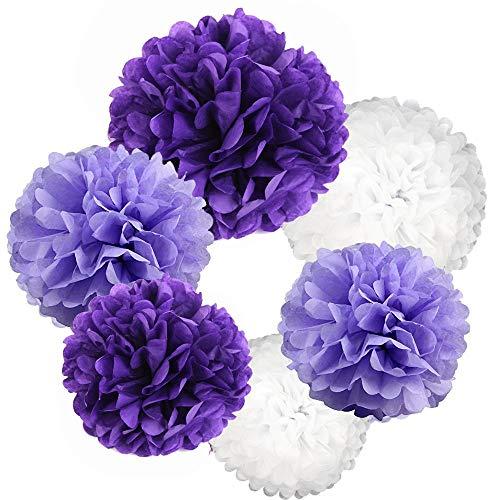 21Pcs Marineblau Papier Pom Poms 14 Zoll, 12 Zoll, 10 Zoll, 8 Zoll Blau Set Blume Ball für Geburtstag Hochzeit im Freien Baby Shower Dekoration (Lila Set) (Baby-dusche-dekorationen Im Freien)