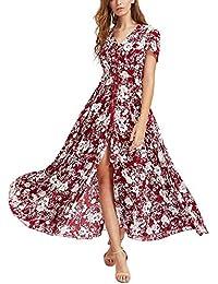 f64ce1bd8ed KUONUO Femme Robe Floral Longue Col V à Fleur Manches Courtes en Coton Bohême  Robe Maxi de Plage D été…